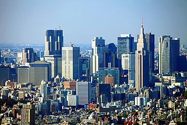 Japan, Tokyo, Shinjuku, skyline, general aerial view,.