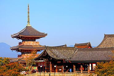 Japan, Kyoto, Kiyomizu-dera Temple, Pagoda,.