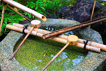 Japan, Kyoto, Ginkakuji Temple, fountain,.