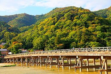Japan, Kyoto, Arashiyama, Togetsu-kyo Bridge, Katsura River,.