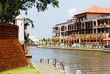 Waterway with old fortress in the city of Malacca, Bandar Melaka, Malaysia.