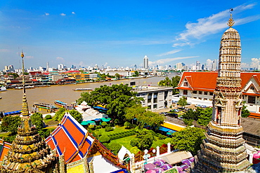 Sunrise over Wat Pho river temple Bangkok.
