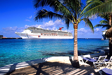 Carnival cruise ship at Cozumel port in Mexico on the Yucatan Peninsula.
