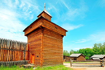 Spassky passable tower of the Ylym jail, 1667. 'Taltsa's' (Talzy), Irkutsk architectural and ethnographic museum. Baikal, Siberia, Russian Federation.