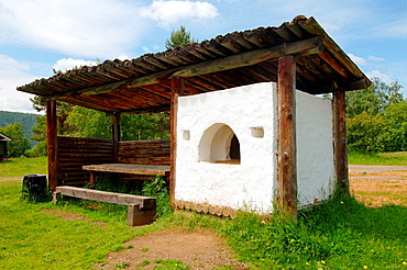 The traditional Buryat furnace for cooking. Settlement Talzy, Irkutsk region, Baikal, Siberia, Russian Federation.