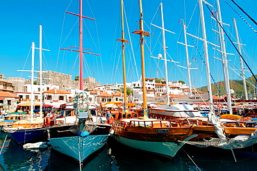Sailing ships in the harbour, Marmaris, Mugla Province, Turkey.