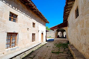 The Karaim kenassa buildings, cufut Qale, Chufut-Kale Jewish Fortress Crimea, Ukraine, Eastern Europe.