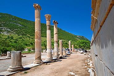 Roman road, antique city of Ephesus, Efes, Turkey, Western Asia.