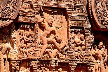 Krishna kills Kamsa, detail of the Banteay Srei temple of the Angkor Wat complex in Cambodia.