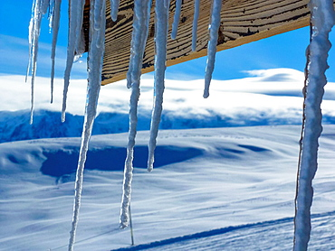 icicles at roof of cabine, Flaine, France