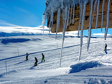 icicles and passing skiers at Flaine, France