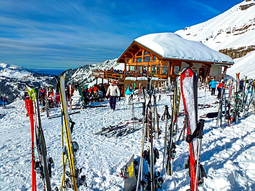 ski's stuck in snow and restaurant at Flaine, France