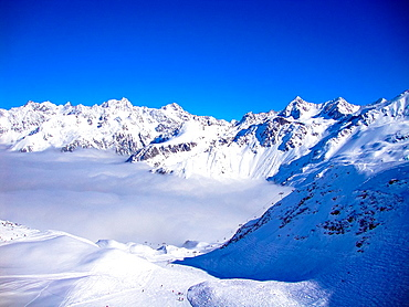 view at the Alps in wintertime, Prapoutel, France