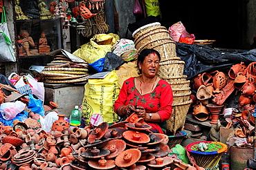 Selling pottery, Kathmandu, Nepal