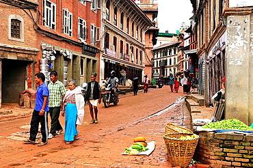 Downtown street, Bhaktapur, Nepal