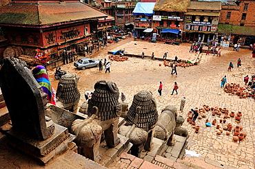 Taumadhi Tole square from Nyatapola Temple, Bhaktapur, Nepal