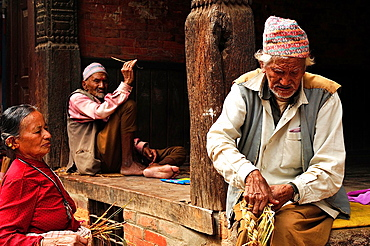 A man weaving straw, Bhaktapur, Nepal