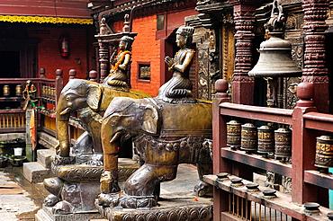 Inner courtyard at Buddhist Golden Temple or Hiranya Varna Mahavihar, Patan, Nepal