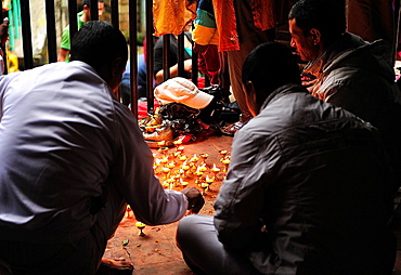 Hindus offering candles to goddes Kali at Dakshinkali Temple in Dhasain Festival, Kathmandu Valley, Nepal