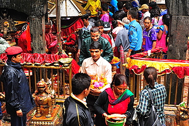 Hindus after to offer sacrifices to goddes Kali at Dakshinkali Temple in Dhasain Festival, Kathmandu Valley, Nepal