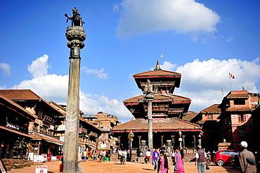 Dattatreya Hindu Temple on Tachupal Tole square, Bhaktapur, Nepal.