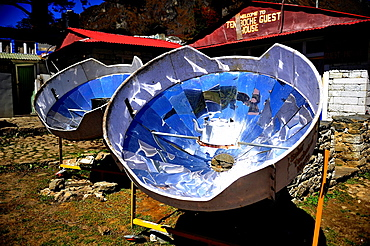 Solar ovens in Tengboche or Thyangboche Sagarmatha National Park, the Himalaya range, Khumbu area, Solukhumbu District, Sagarmatha Zone, Nepal
