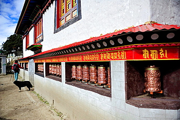 Prayer wheels at Buddhist monastery of Pangboche, Sagarmatha National Park, the Himalaya range, Khumbu area, Solukhumbu District, Sagarmatha Zone, Nepal