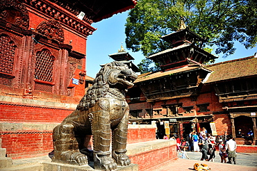Lion statue in stone at Hindu temple, Durbar Square, Kathmandu, Nepal