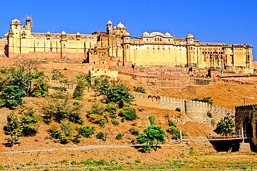 A Panoramic view of Amber Fort or Amer Palace, next to Jaipur, Rajasthan state, India