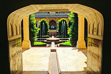 Courtyard, Amber Fort or Amer Palace, next to Jaipur, Rajasthan state, India