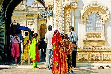 People entering at Karni Mata Temple or Temple of Rats, Deshnoke, next to Bikaner, Rajasthan state, India