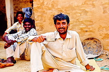 Camel driver resting at home, Jaisalmer, Rajasthan state, India