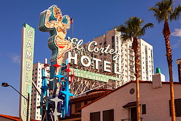 El Cortez Hotel on Fremont street in Downtown Las Vegas,Nevada,USA.