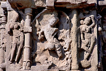 Shiva in Aghora form with two female attendants on either side. Ambreshwar Shiva Temple, Ambarnath, Maharashtra, India.