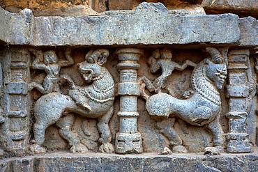 Kopeshwar temple. Stylized animal figure on southern doorway. Khidrapur, Kolhapur, Maharashtra, India.