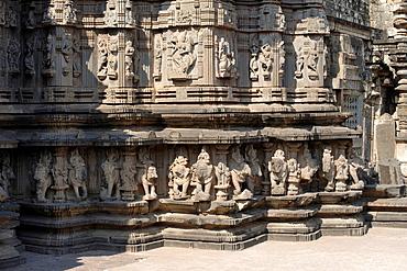Kopeshwar temple. Plinth and Mandovara portion, view from South-West. Khidrapur, Kolhapur, Maharashtra, India.