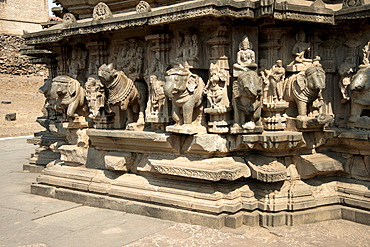 Kopeshwar temple. View from South-East showing Deities riding elephants- on the lower portion of the garbhagriha.
