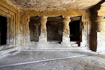 Mandapeshwar rock-cut cave, Mumbai. Right chamber of the main hall. Borivali, Mumbai, Maharashtra, India.