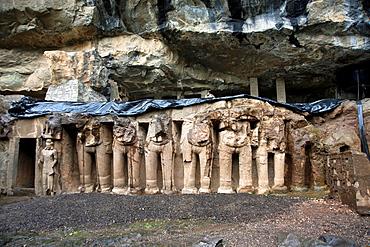 Pitalkhora Caves. Rock-cut Elephants. Aurangabad district, Maharashtra, India.