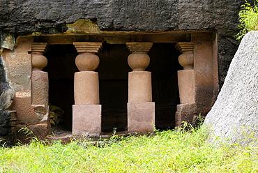 Amba-Ambika group of caves, Junnar dist Pune, Maharashtra, India. Vihara with two pillars and pilasters on the right of Cave No. 27.