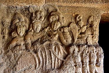Image of so called Surya in the verandah of Vihara 20. circa 150 B.C. Bhaja caves, Dist. Pune, Maharashtra, India.