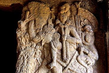 Image of Indra in the verandah of Vihara 20. circa 150 B.C. Closer view of the upper portion. Bhaja caves, Dist. Pune, Maharashtra.