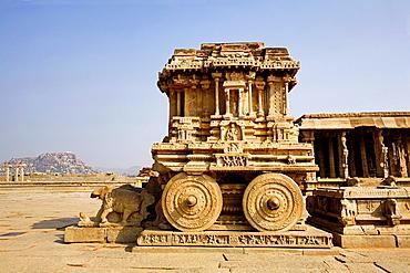 Stone chariot or ratha. General view Hampi, Karnataka, India.