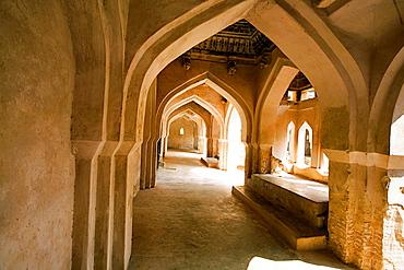 Queens's bath, Zenana Enclosure, Architectural details of balcony interior, Hampi, Karnataka India.