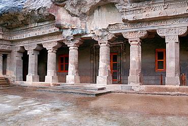 Cave 1 : Facade of Vihara. Ajanta Caves, Aurangabad, Maharashtra, India.