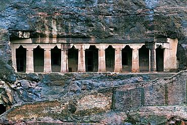 Cave 4 : Facade of vihara. Ajanta Caves, Aurangabad, Maharashtra, India.