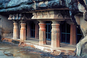 Cave 7 : Facade showing four decorative pillars in the front. Ajanta Caves, Aurangabad, Maharashtra, India.