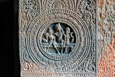 Cave 24: Right pilaster, Lotus medallion. Ajanta Caves, Aurangabad, Maharashtra, India.