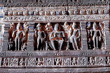 Cave 26: Frieze above pillars. Buddha images. Ajanta Caves, Aurangabad, Maharashtra, India.