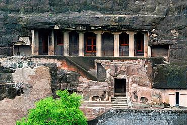 Cave 16: Facade, Long View. The Cave consists of a court, verandah, hall and sanctum. Ajanta Caves, Aurangabad, Maharashtra, India.